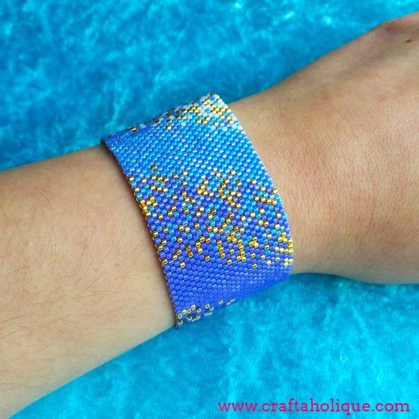 Peyote Stitch Beaded Cuff Bracelet Pattern – Ocean Haze