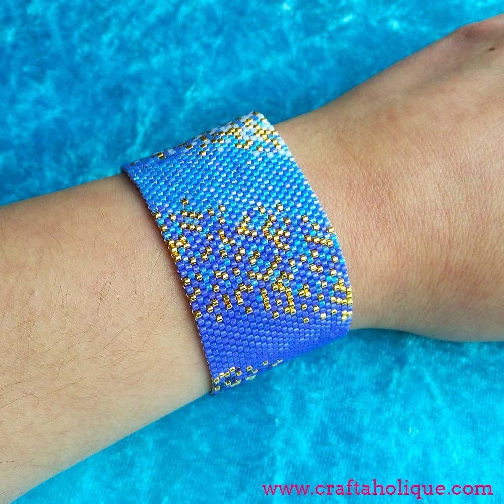 7eec5b1c440 Peyote Stitch Beaded Cuff Bracelet Pattern - Ocean Haze | Craftaholique