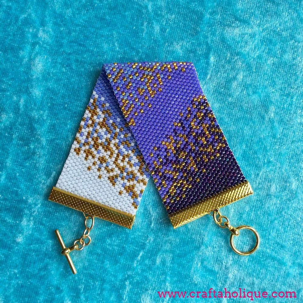 Beautiful Peyote Stitch Beaded Cuff Bracelet Pattern - by Craftaholique