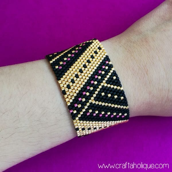Peyote Stitch Cuff Bracelet Beading Pattern: Angular Splendour