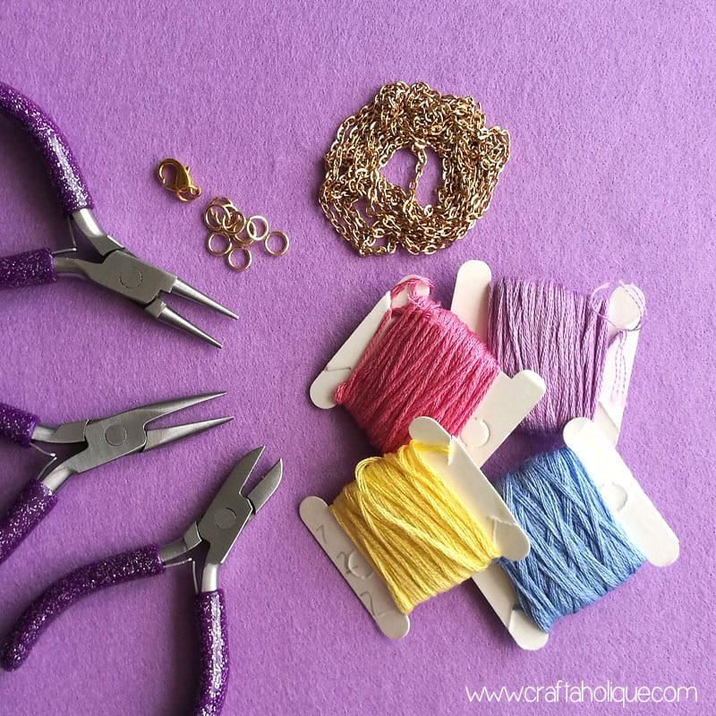 Materials for a tassel necklace
