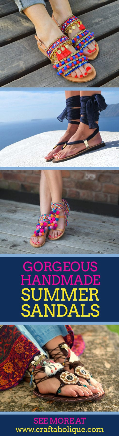Beautiful handmade summer sandals from Etsy - Handmade Showcase from Craftaholique