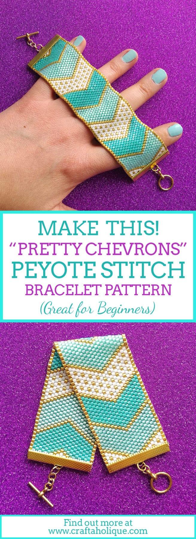 Chevron Peyote Bracelet Pattern - flat odd count peyote