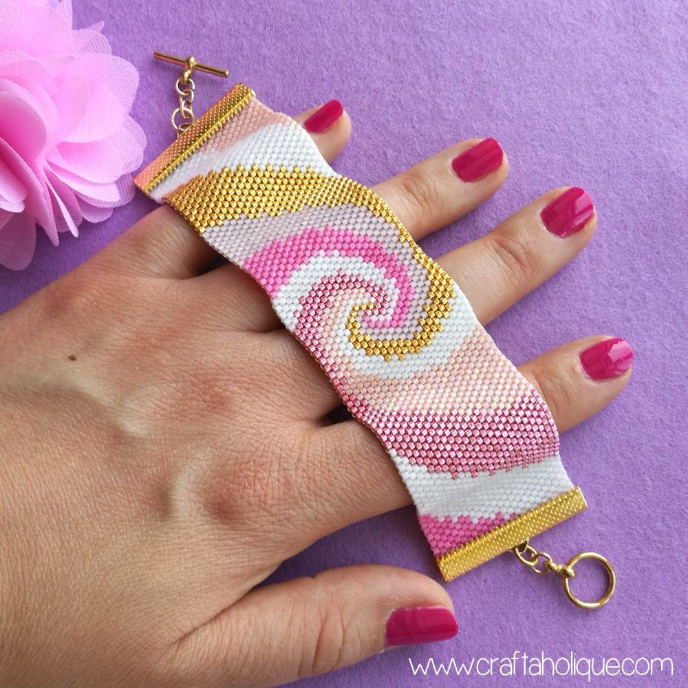 Spiral Peyote Stitch Pattern for Beaded Cuff Bracelet