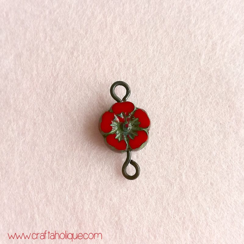 Crimson Lil' Bloom flower beads from The Curious Bead Shop