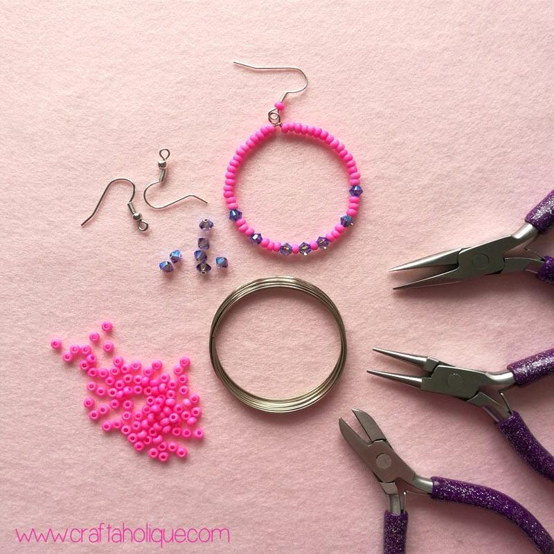 Beaded Hoop Earrings Tutorial with Memory Wire