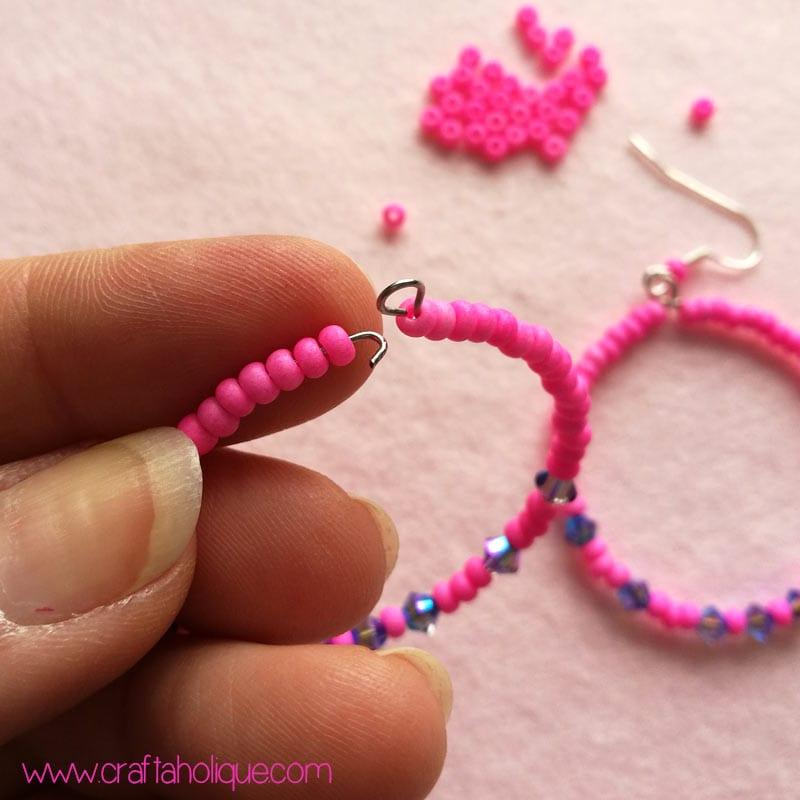 Beaded Hoop Earrings Tutorial | Craftaholique