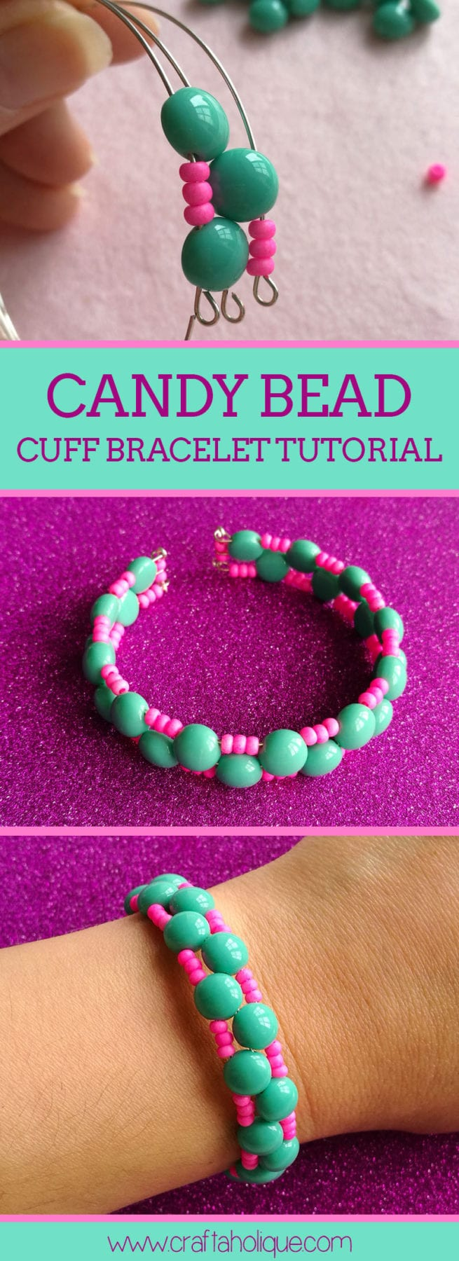 Candy bead and memory wire bracelet tutorial from Craftaholique