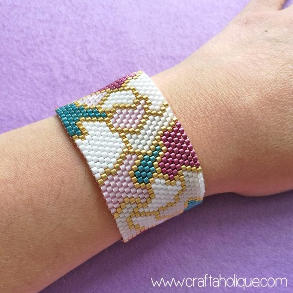 """Pretty Patches"" Peyote Stitch Bracelet Pattern"