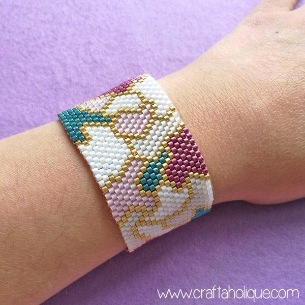 """Pretty Patches"" Peyote Stitch Bracelet Pattern"
