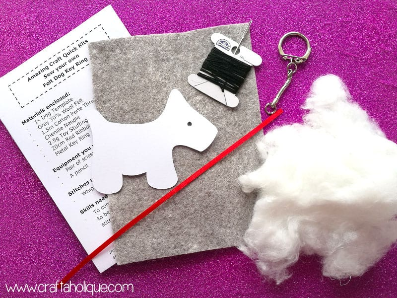 Felt dog keyring kit review amazing craft craftaholique felt dog keyring project from amazing crafts maxwellsz