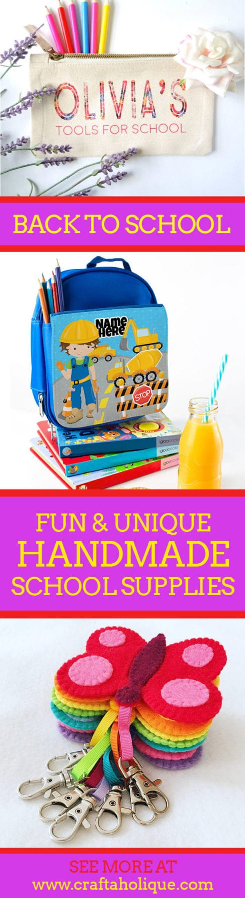 Unique back to school items for kids - handmade showcase from Craftaholique