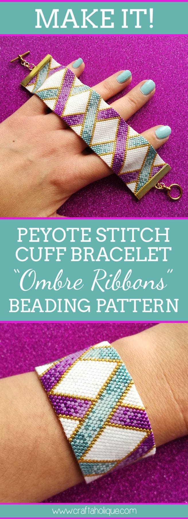 Peyote stitch for beginners - flat even count peyote bracelet pattern by Craftaholique