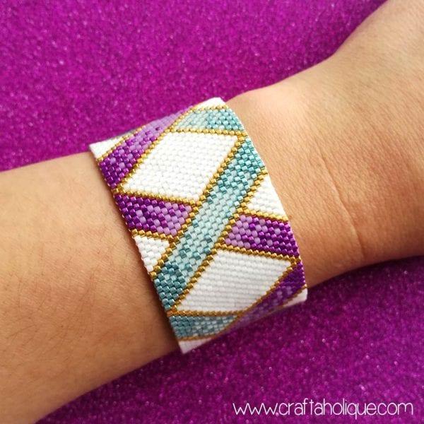 """Ombre Ribbons"" Peyote Stitch Bracelet Pattern"