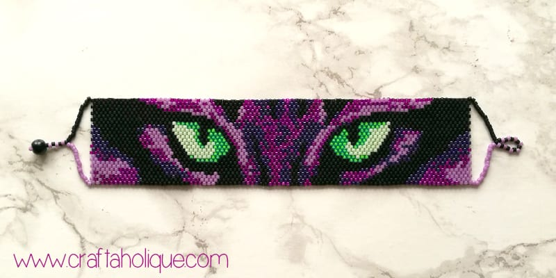 Halloween Beading - Spooky Cats Eyes Peyote Stitch Pattern by Craftaholique