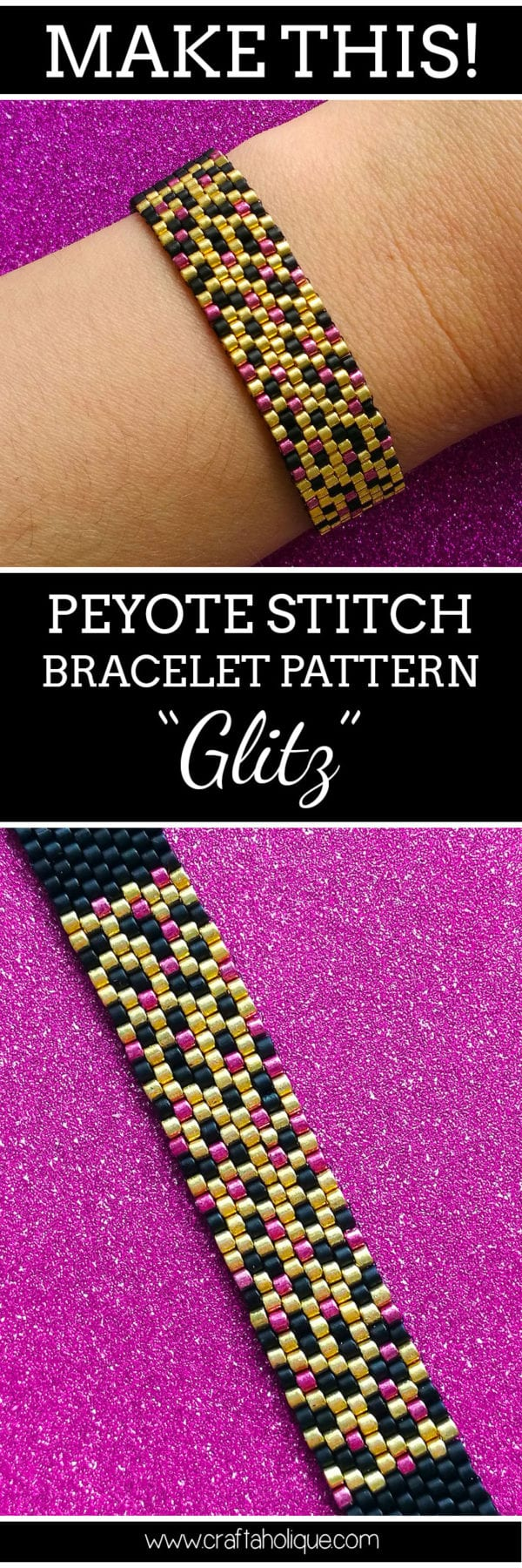 Peyote for Beginners - Glitz Peyote Stitch Bracelet Pattern by Craftaholique
