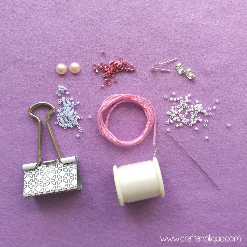 Materials for chevron earrings tutorial by Craftaholique