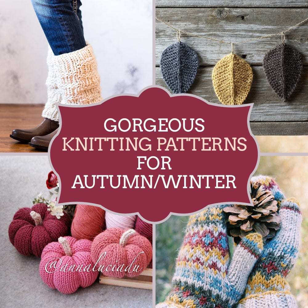 Autumn winter knitting patterns - knitted bobble hat, knitted leg warmers, knitted mittens and more