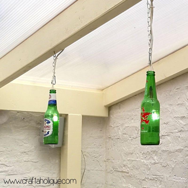 Beer bottle lights DIY project by Craftaholique