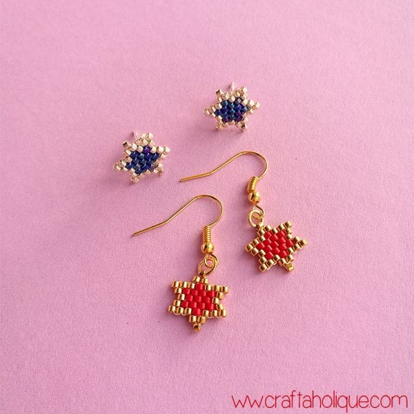 How to Make Brick Stitch Star Earrings