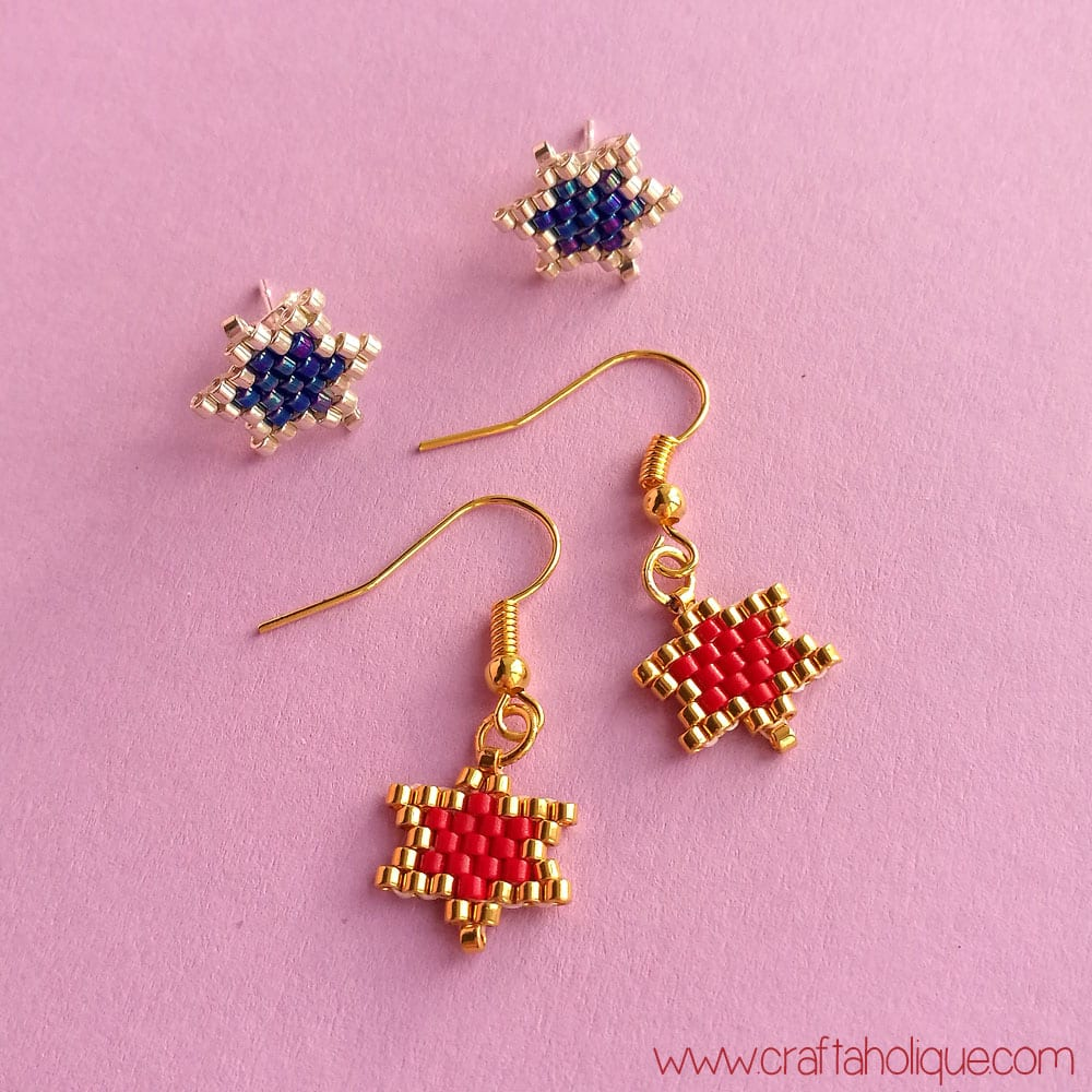 Brick Stitch Star Earrings Pattern and Tutorial by Craftaholique