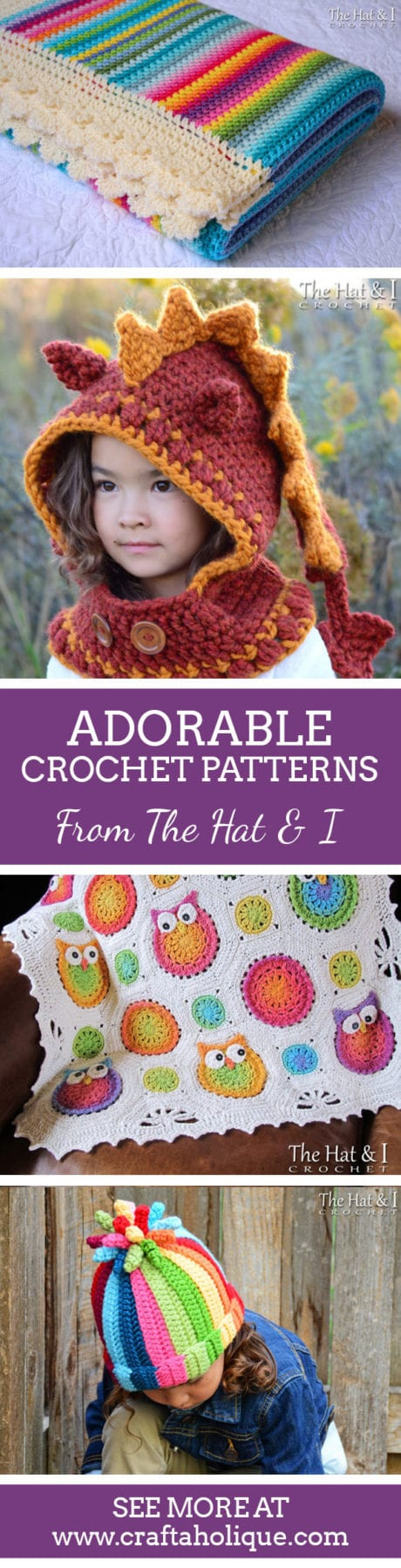 Adorable crochet patterns from The Hat & I Crochet on Etsy