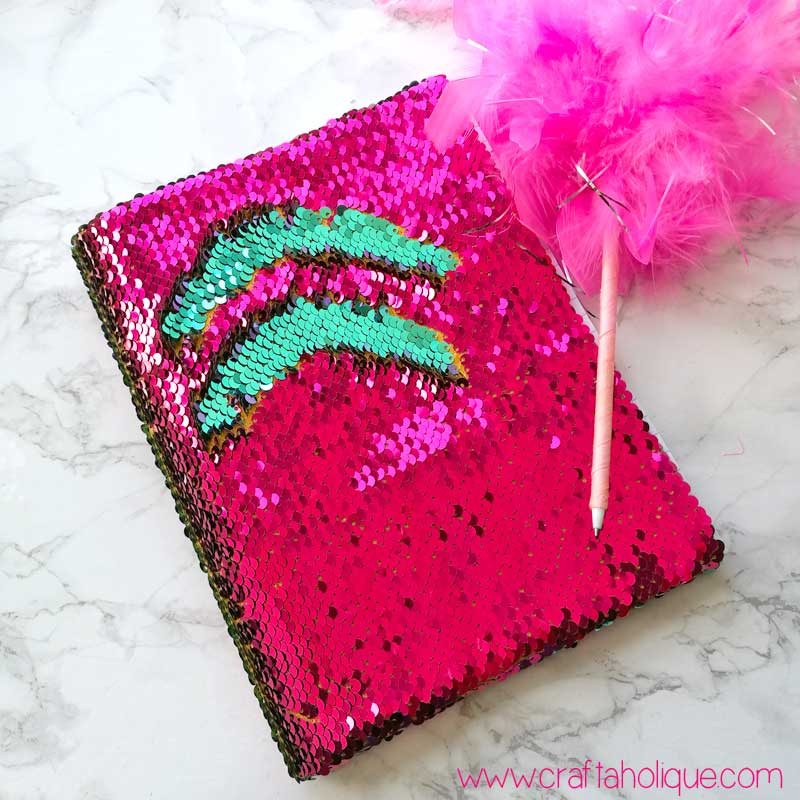 Reversible mermaid sequin fabric notebook tutorial from Craftaholique