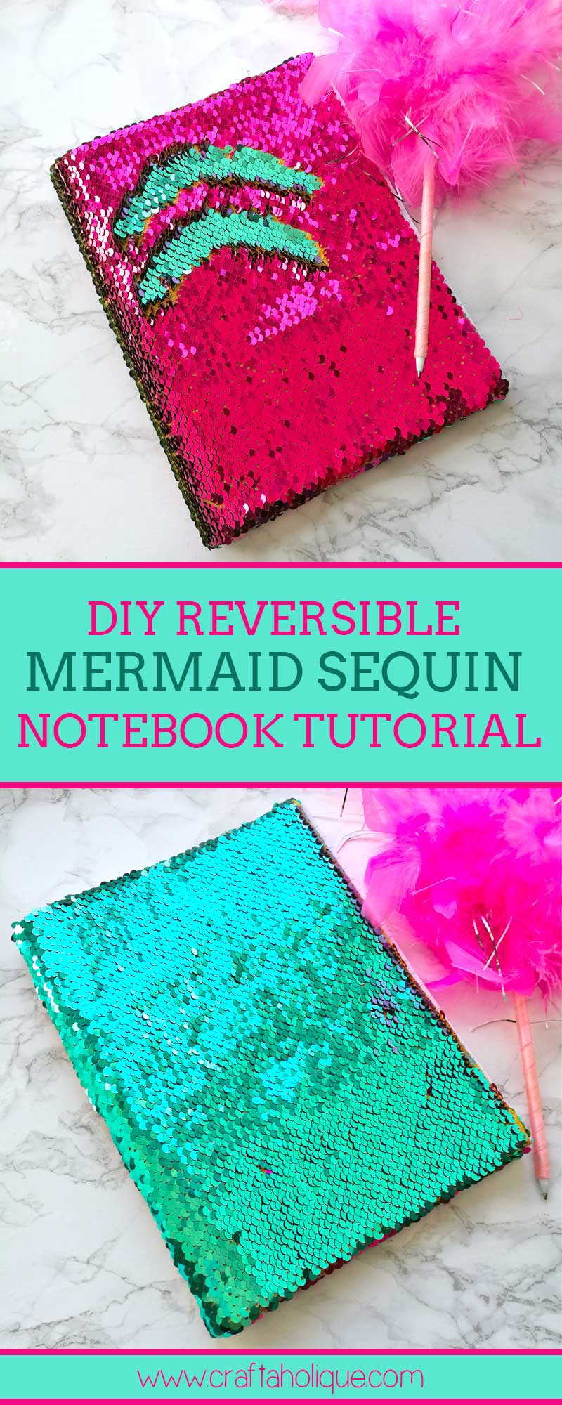 Reversible Sequin Fabric Notebook Tutorial by Craftaholique