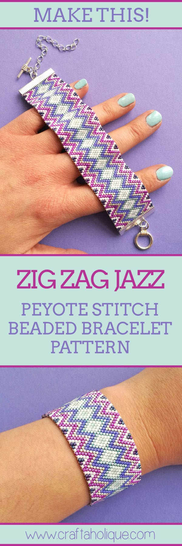 Zig Zag Jazz - Flat Even Count Peyote Pattern from Craftaholique