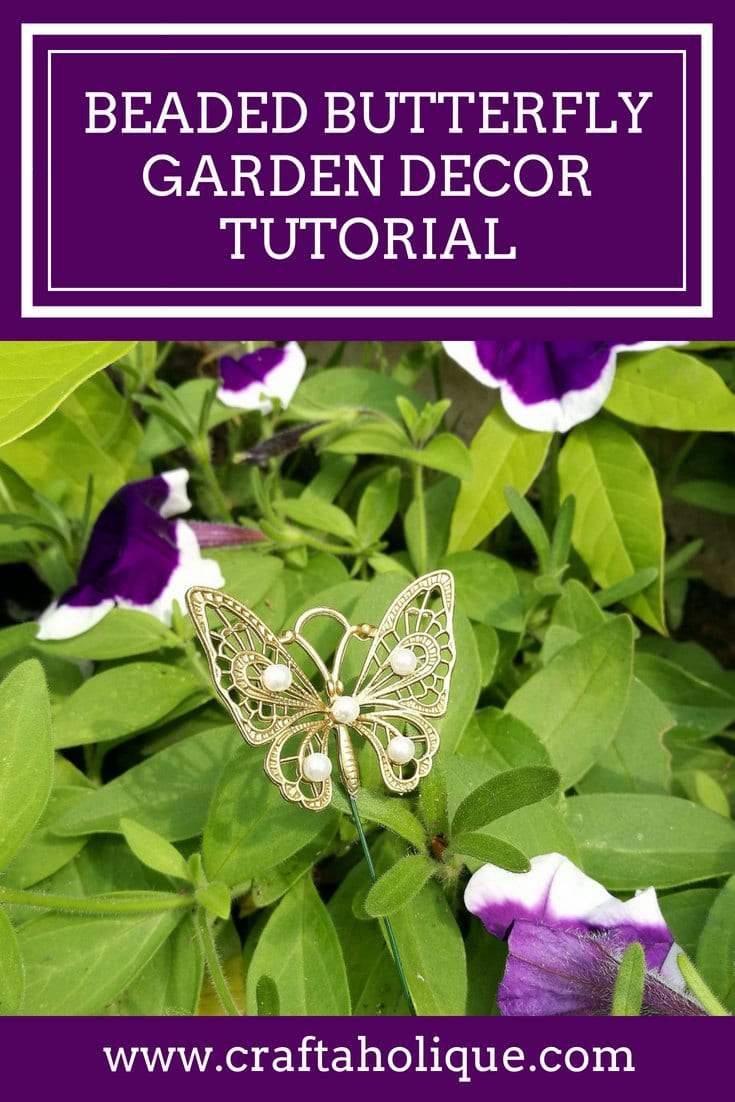 Beaded butterfly garden decor tutorial by Craftaholique