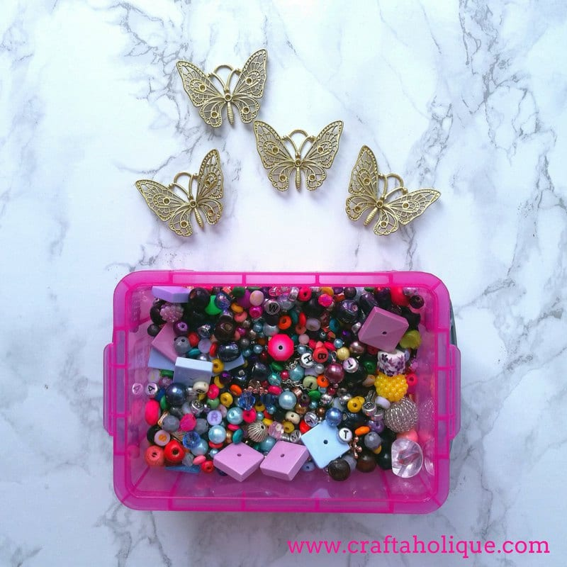Beaded butterfly garden decor