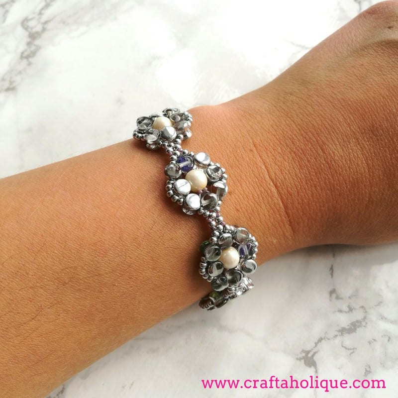 Silver Pretty Pellet Bracelet Kit designed by Kerrie Slade for Beads Direct