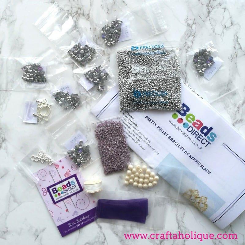 Silver Pretty Pellet Bracelet Kit designed by Kerrie Slade for Beads Direct