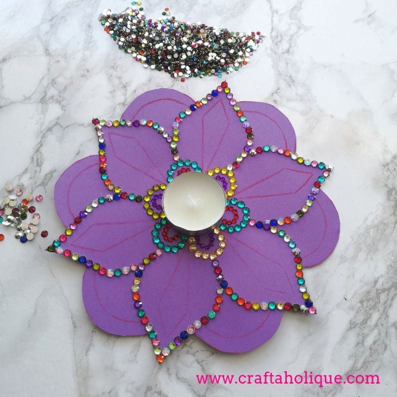 Diwali tealight DIY with flat back rhinestone gems