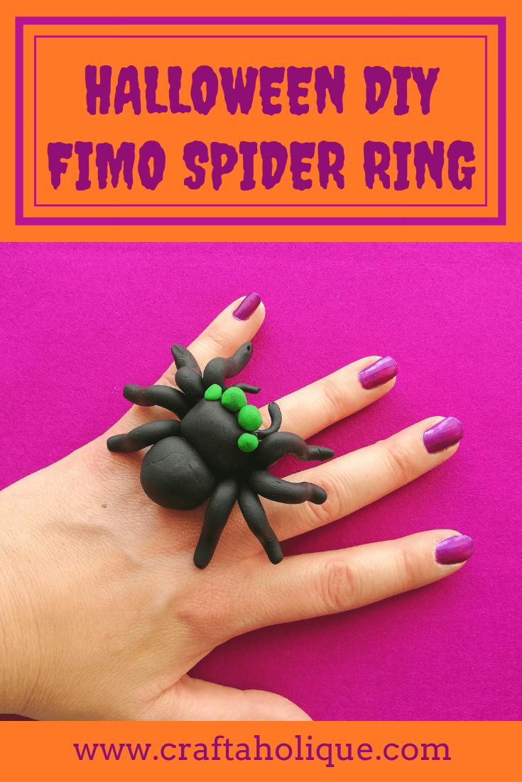 Halloween DIY Fimo Spider Ring