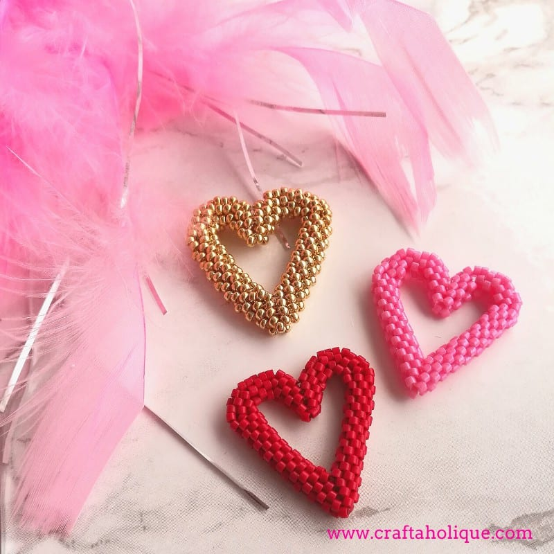 Beaded heart tutorial with seed beads and Miyuki Delicas