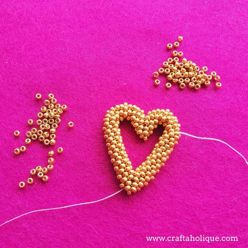 Open heart beadweaving project