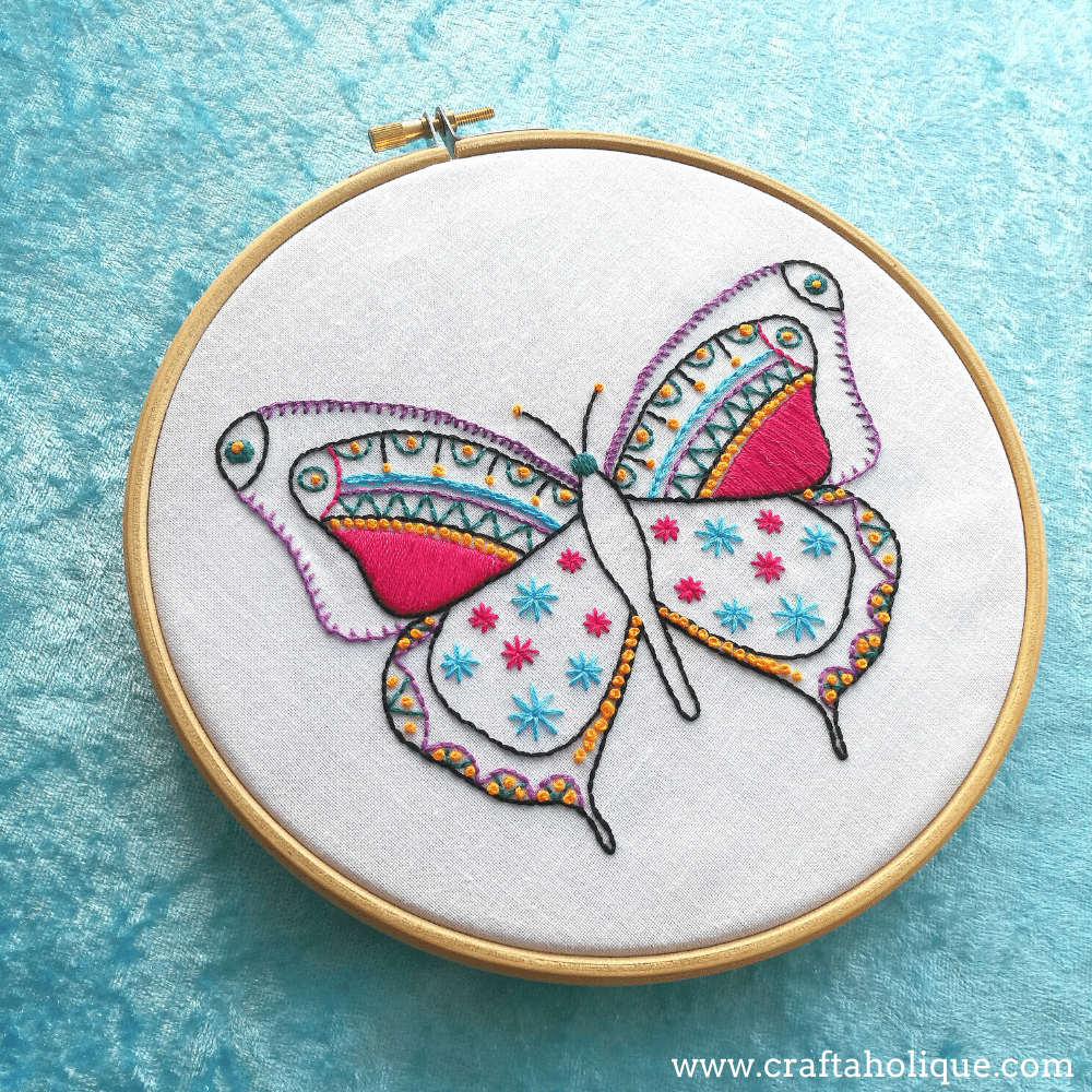 Finished butterfly embroidery from contemporary kit at Hawthorn Handmade