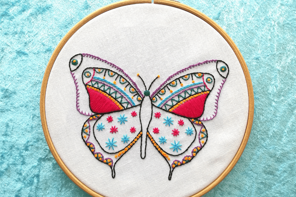 Beginner embroidery butterfly pattern from Hawthorn Handmade