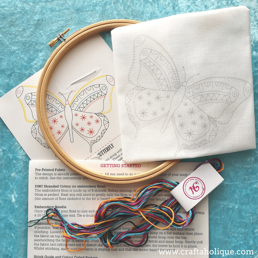 Materials including in butterfly embroidery kit from Hawthorn Handmade