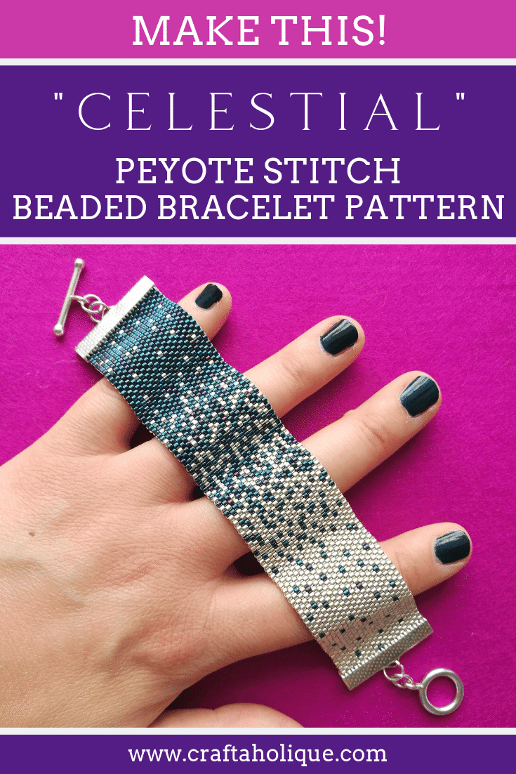 Easy peyote stitch patterns by Craftaholique. Celestial is an even count peyote bracelet pattern that uses just two bead colours - perfect for beginners.