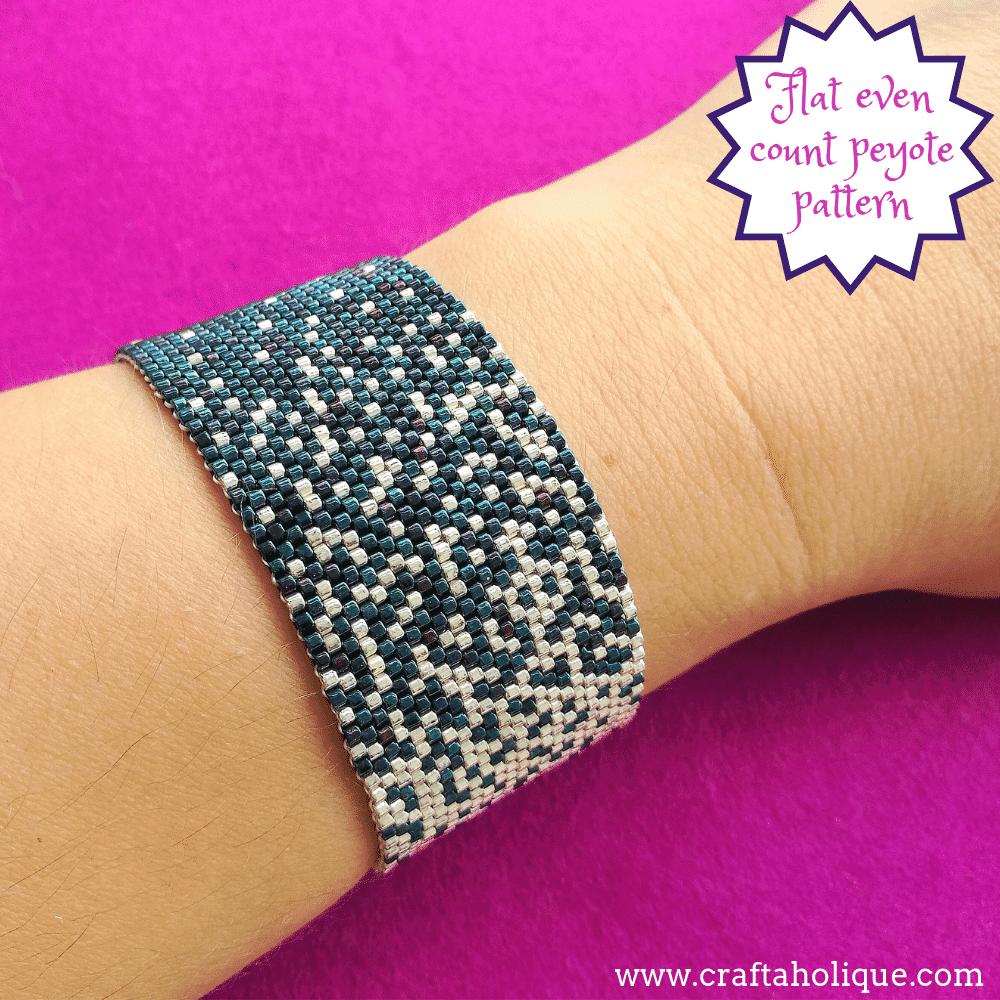 Easy peyote stitch patterns - Celestial is a peyote bracelet pattern for beginners