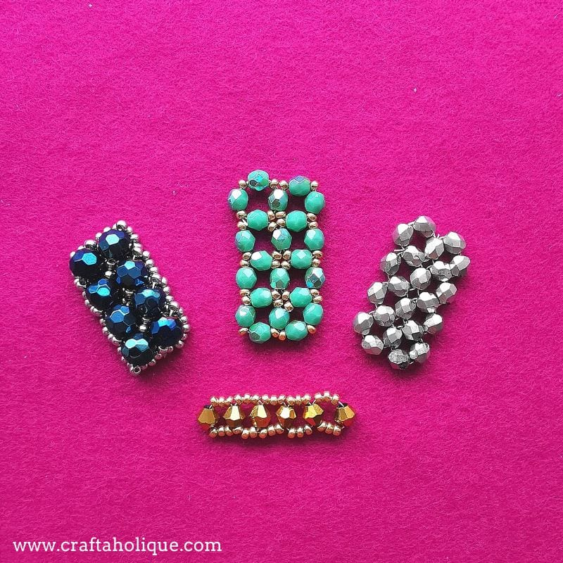 Different ways of designing with right angle weave (RAW) beadweaving stitch.