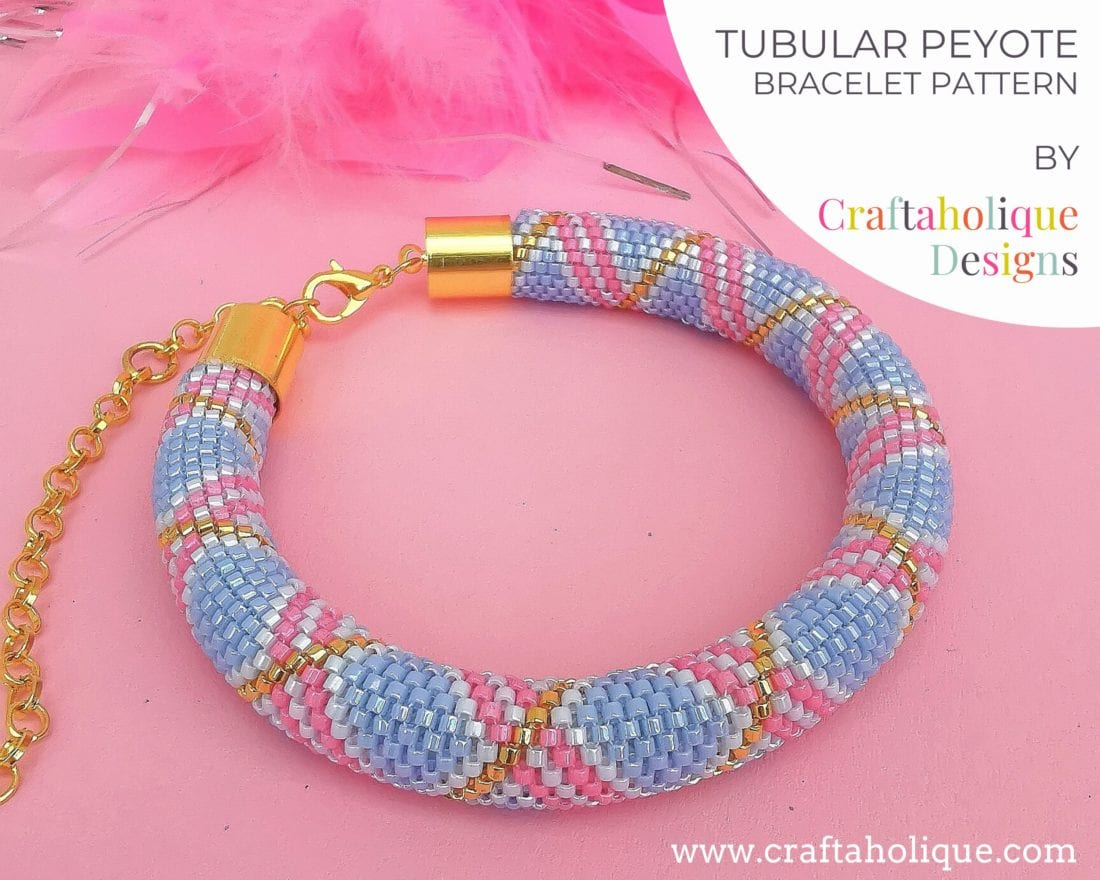 Tubular peyote pattern for beaded bracelet in pastel shades, blue, pink and gold.