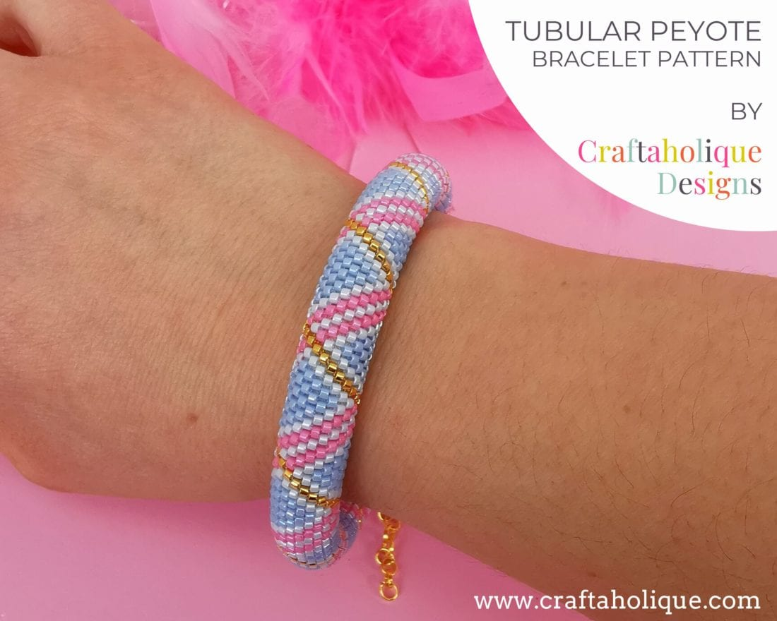Tubular peyote beaded bracelet pattern using miyuki delicas in blue, pink and gold.