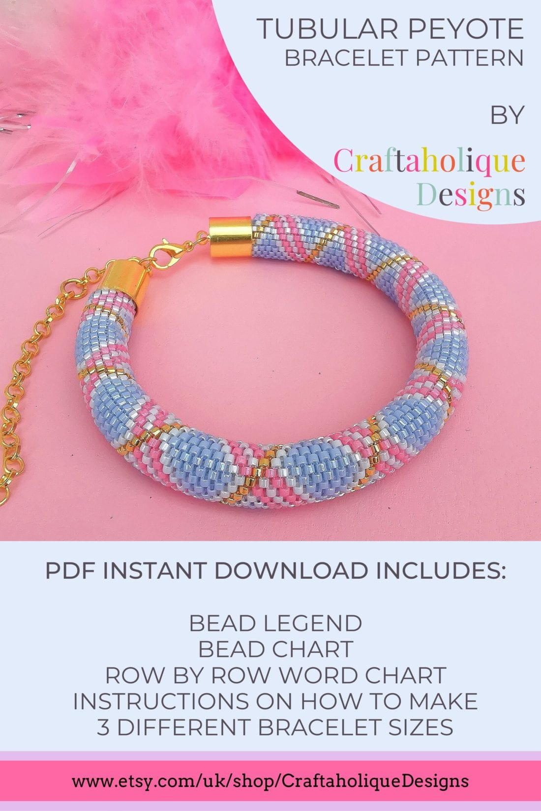 Tubular peyote bracelet pattern. This pattern uses miyuki delicas in pretty pastel shades of blue, pink and gold. Make this as the perfect accessory to go with your spring or summer outfits!