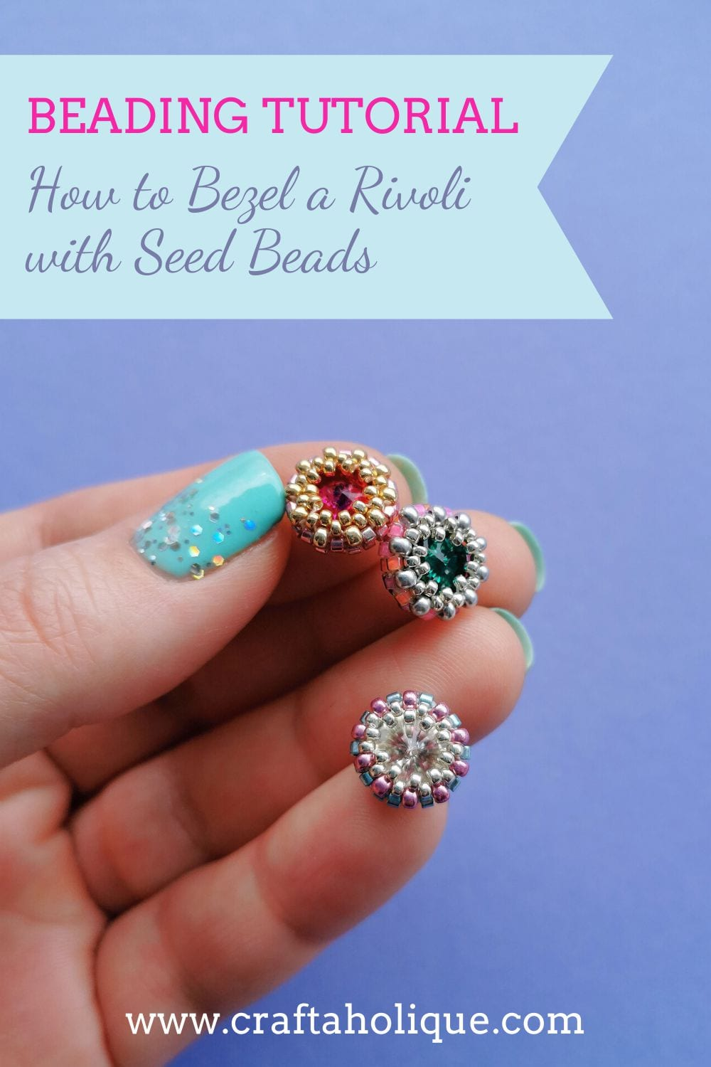 A step by step tutorial on how to bezel set a crystal rivoli using Miyuki Delica seed beads. Turn these into earrings, rings, pendants or bracelet components!