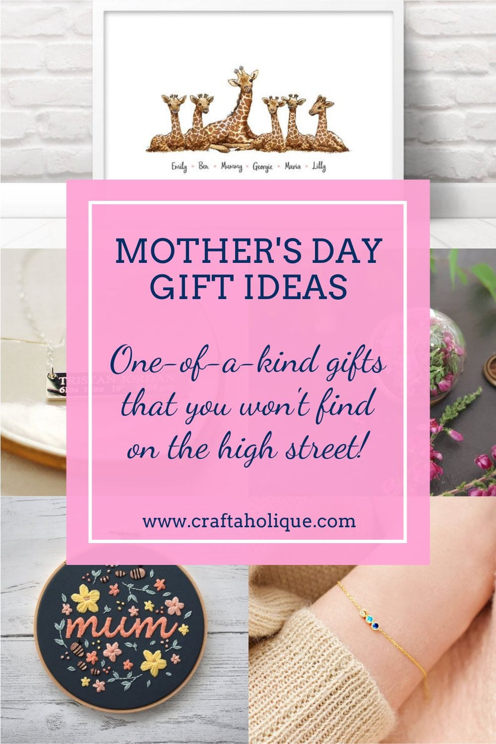 A selection of gorgeous Mother's Day gift ideas from talented creators on Etsy. You're sure to find a gift that special lady in your life will love!