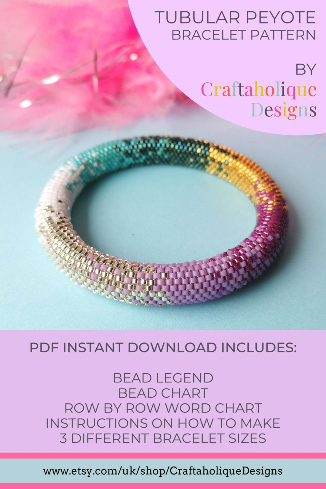 Colour Fusion peyote bracelet pattern by Craftaholique. This pattern uses Miyuki Delicas in a range of vibrant colours and finishes! Pattern available in three different sizes.