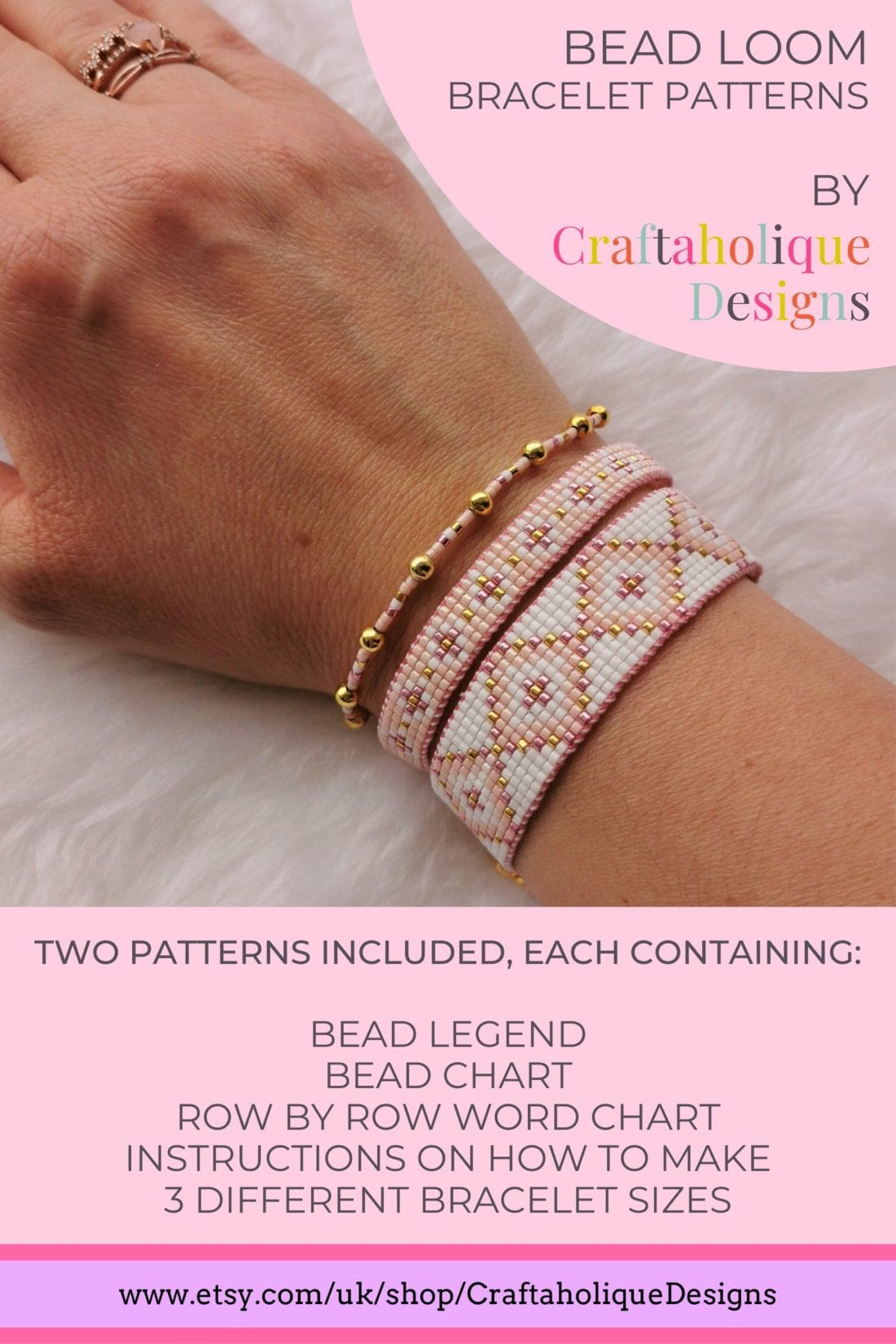 Make this set of two bead loom stacking bracelets in summery colours of pink, peach, white and gold! Visit Craftaholique to get the pattern.